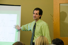 A May Institute clinician giving a lecture